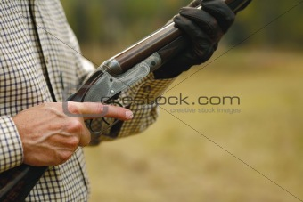 Man Hunting with a Shotgun - clipping path