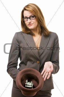 Business woman with hat begging for money