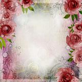 Vintage pink and green background with roses ( 1 of set)