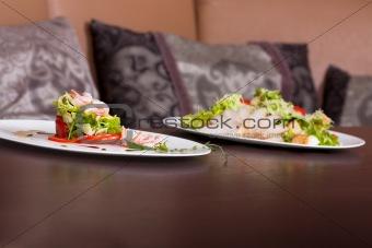Fresh chicken and shrimp salad