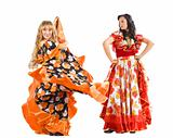 Two mature woman dance flamenco in gypsy costume