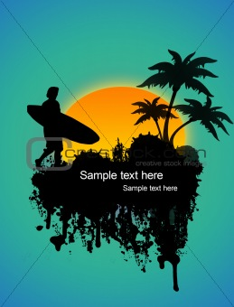 Surfer on tropical poster