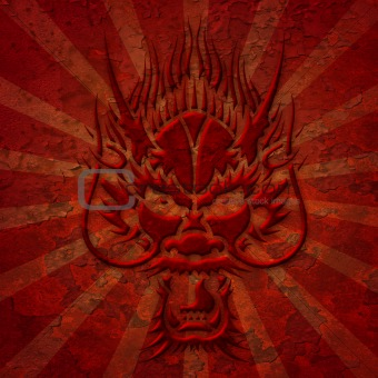 Asian Dragon Head with Grunge Texture