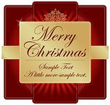 Ornate Red and Gold Christmas Label with room for your own text.