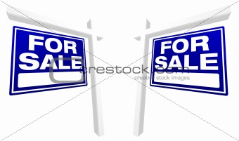 Pair of Blue For Sale Real Estate Signs in Perspective.