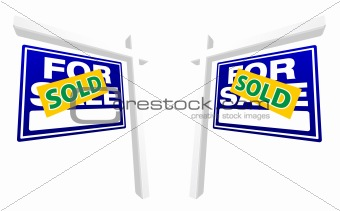 Pair of Blue For Sale Real Estate Signs with Sold in Perspective.