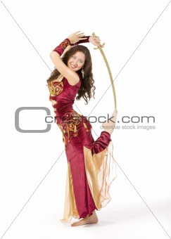 young woman dance with sword
