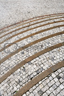 Old curved stone steps – cobblestones – granite – outdoor