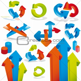 Abstract arrows design elements. Vector illustration.