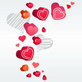 Hearts on light grey background