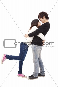 asian couple hugging each other isolated on white background