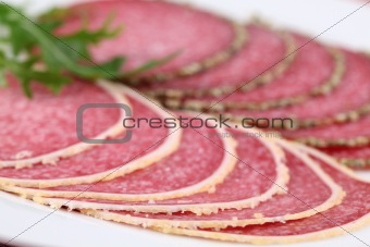 Salami with parmesan and pepper crust