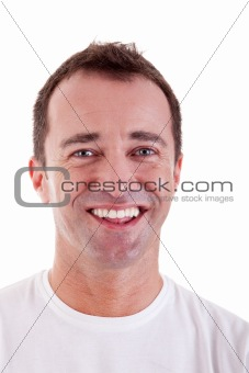Portrait of a handsome middle-age man happy, on white background. Studio shot