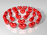 crystal 3d heart array as three round