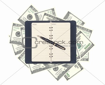 American dollars and opened notebook with pen isolated on white