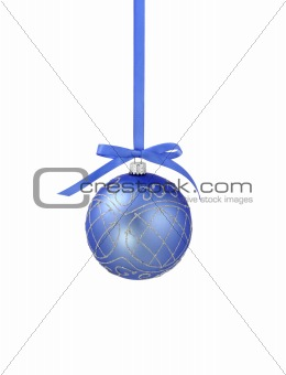 Blue christmas ball with ribbon on white background with copy sp