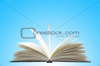 White opened book on blue background