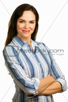 Isolated portrait of a young and beautiful business woman