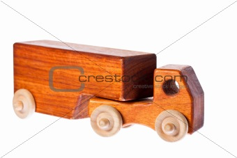 A funky retro wooden truck or semi-trailer