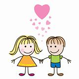 Boy and girl with hearts