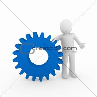 3d human gear blue