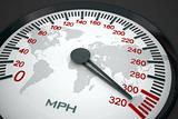 Speedometer and world map