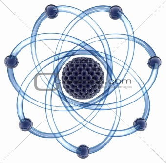 Atom - 3D render. Isolated on white