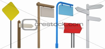 3D Blank signpost collection isolated on white