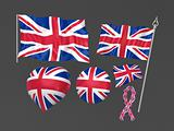 United Kingdom, London flag national symbolic . Isolated on grey
