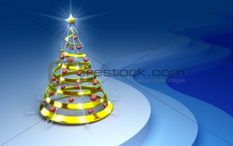 A christmas tree concept. Greeting new year card.