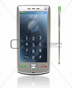 Mobile pda 3G phone with stylus isolated on white