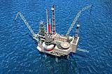 Drilling offshore. Platform in sea. 3D image