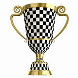 Crossed checkered trophy golden cup, symbols of winning.  Isolated on white