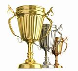 Winner award cups : golden silver and bronze signs