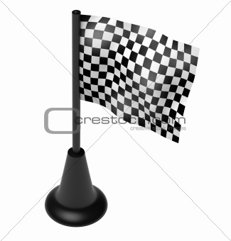 Chequered flag on the mast. 3D render.  Isolated on white