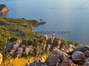 Montenegro coastline at sunset