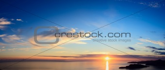 Panorama of sunset over sea