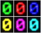 Set a glowing symbol of the number 0
