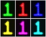 Set a glowing symbol of the number 1