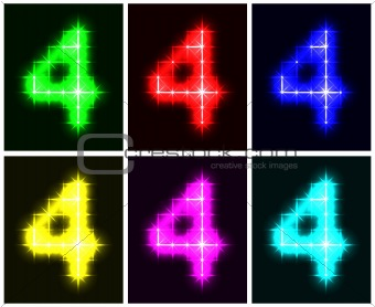 Set a glowing symbol of the number 4