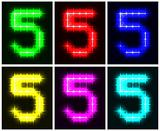 Set a glowing symbol of the number 5