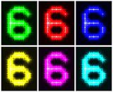 Set a glowing symbol of the number 6