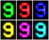 Set a glowing symbol of the number 9