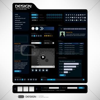 Website Web Design Elements Dark Black Template
