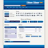 Website Web Design Elements Blue Theme Vector