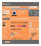 Website Web Design Elements Orange Template