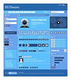Website Web Design Elements Blue Template