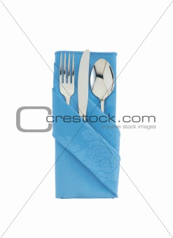 fork ,knife and spoon on blue cloth isolated on white background