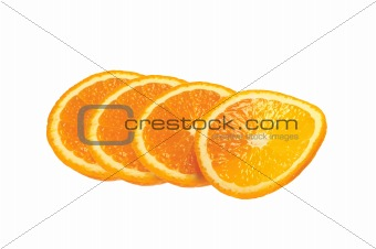 Sliced fresh orange isolated on white