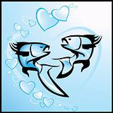 Love, background with fishes